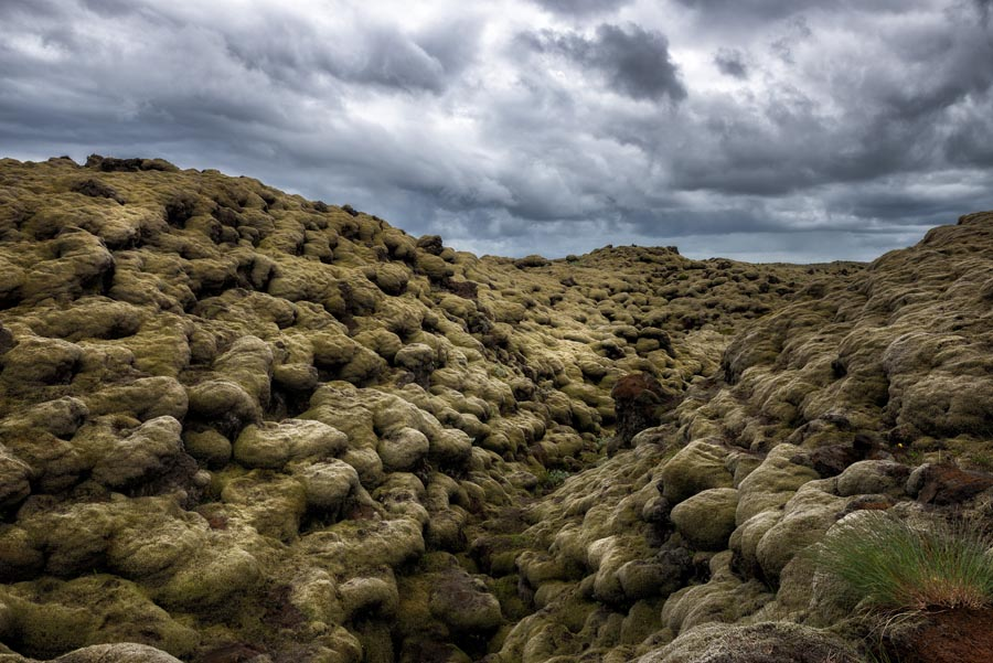 Eldhraun lava fields in Iceland with stormy sky