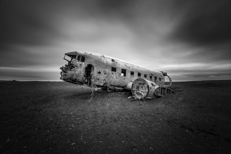 Long exposure of a plane that crash landed on Solheimasandur Beach