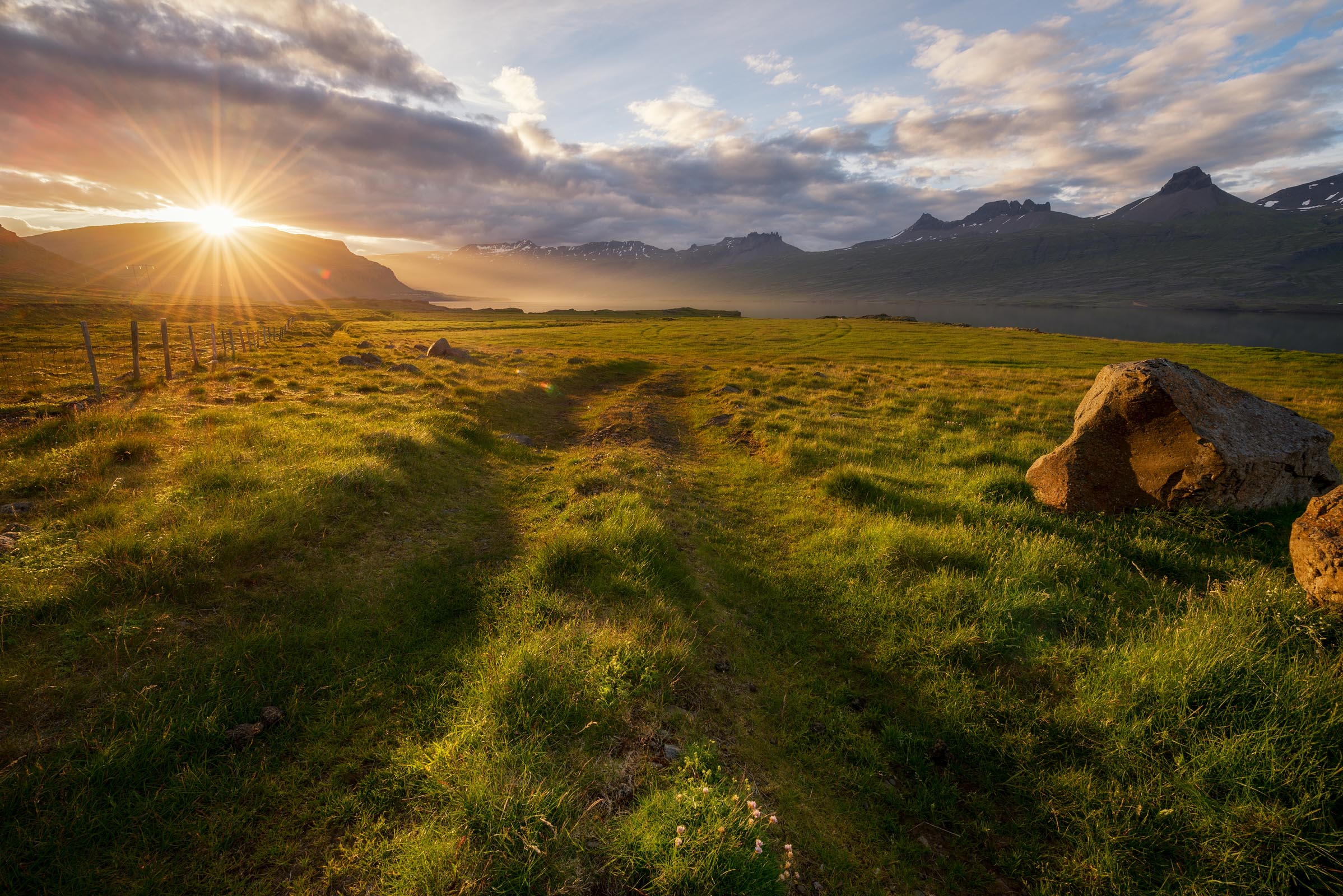 Photograph of Sunburst Meadow in Djupivogur, Iceland by Brent Goldman Photography