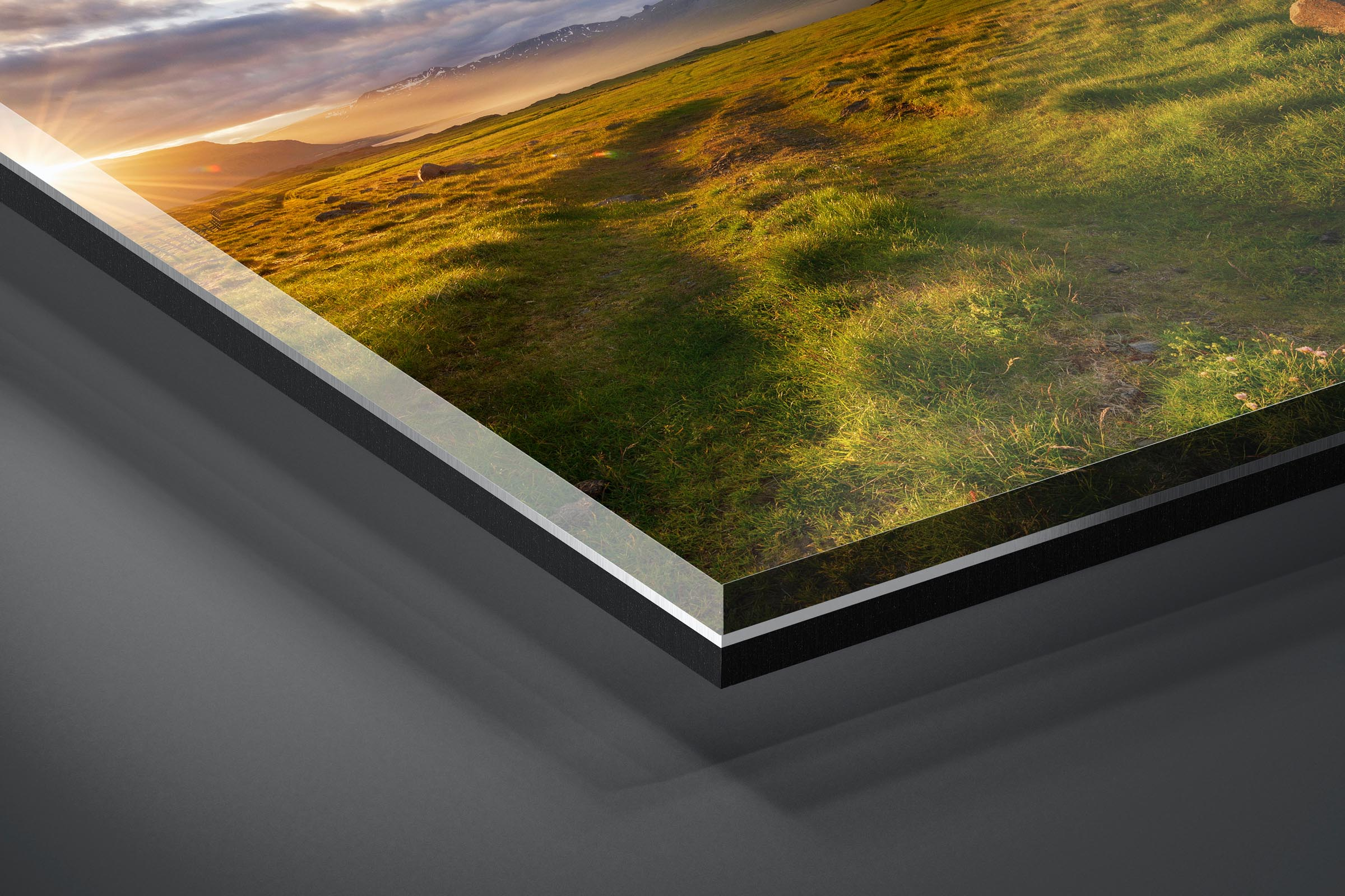 Fine art limited edition acrylic print of Sunburst Meadow in Djupivogur, Iceland by Brent Goldman Photography