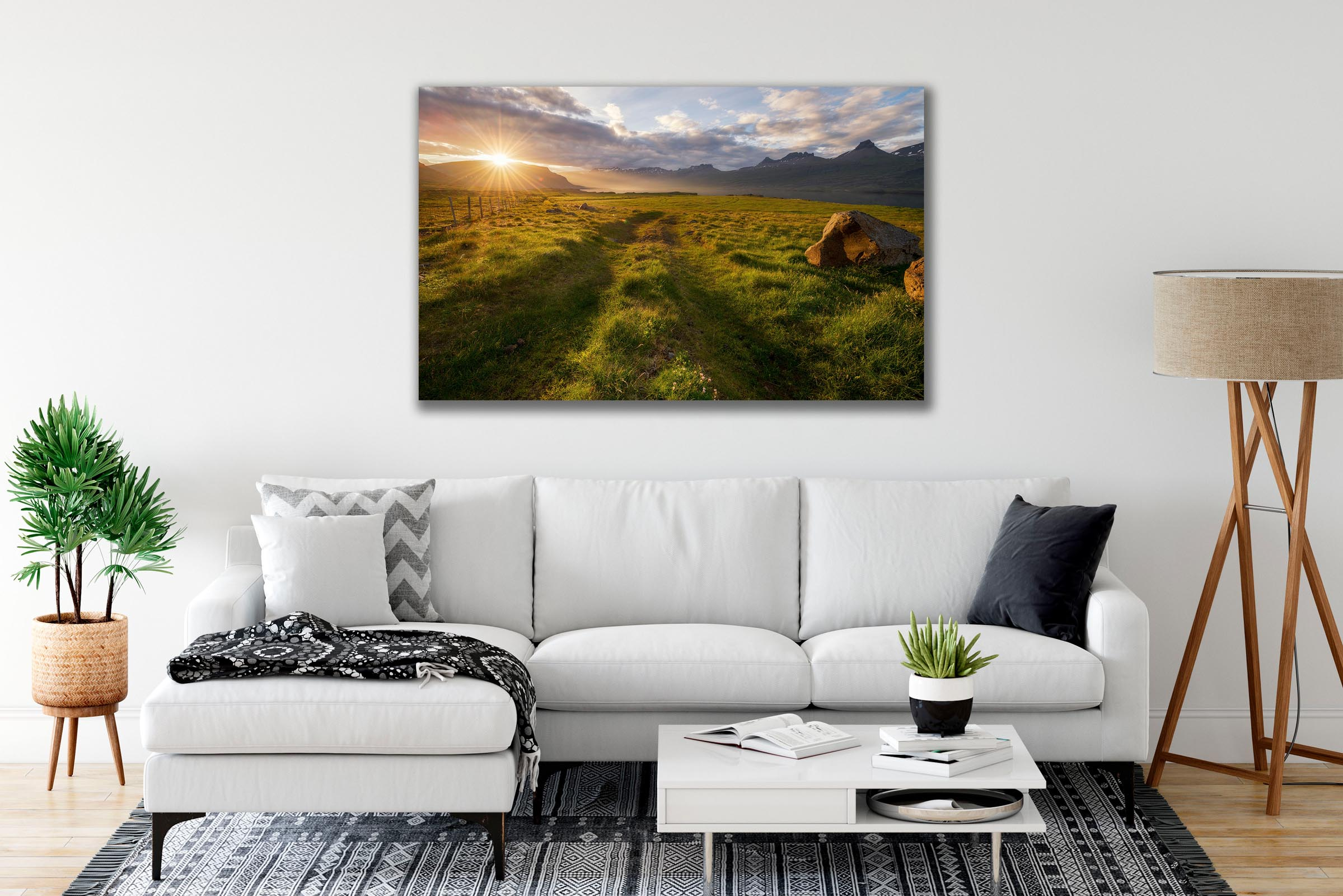 Wall art of Sunburst Meadow in Djupivogur, Iceland by Brent Goldman Photography