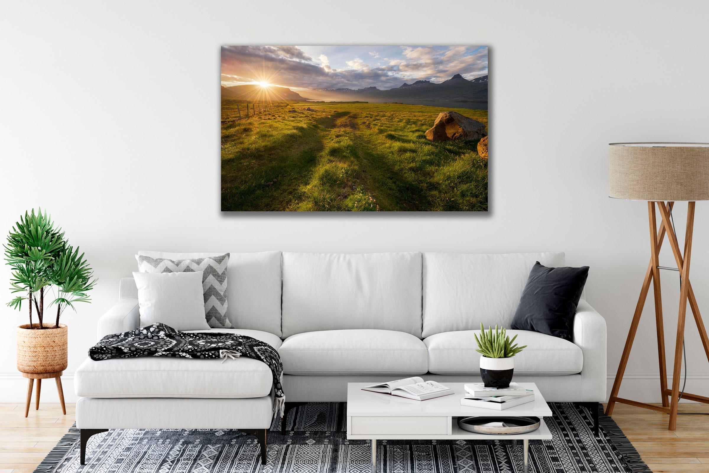 Wall art of Sunburst Meadow in Djupivogur, Iceland by Brent Goldman Photography