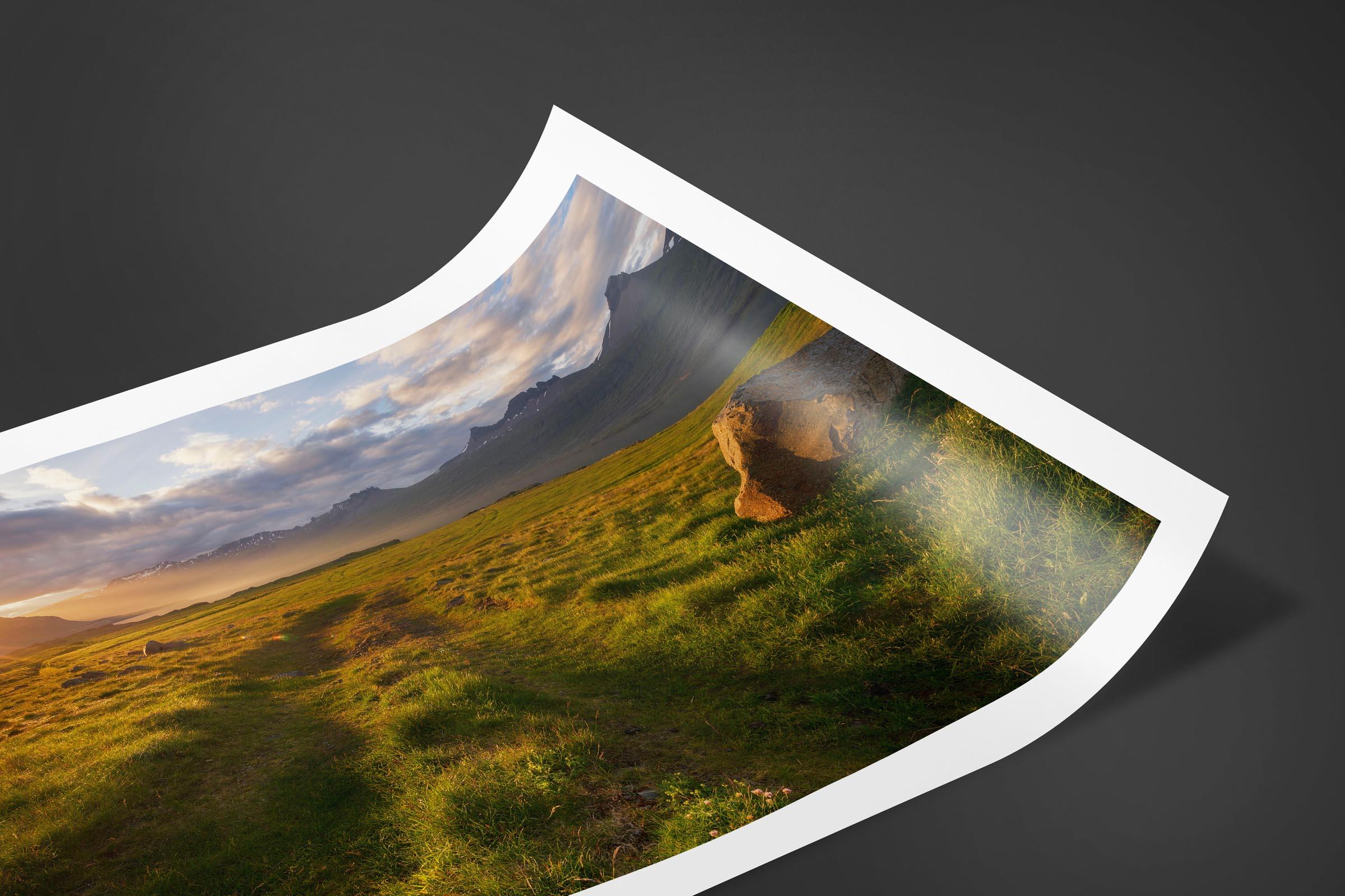 Fine art limited edition print of Sunburst Meadow in Djupivogur, Iceland by Brent Goldman Photography