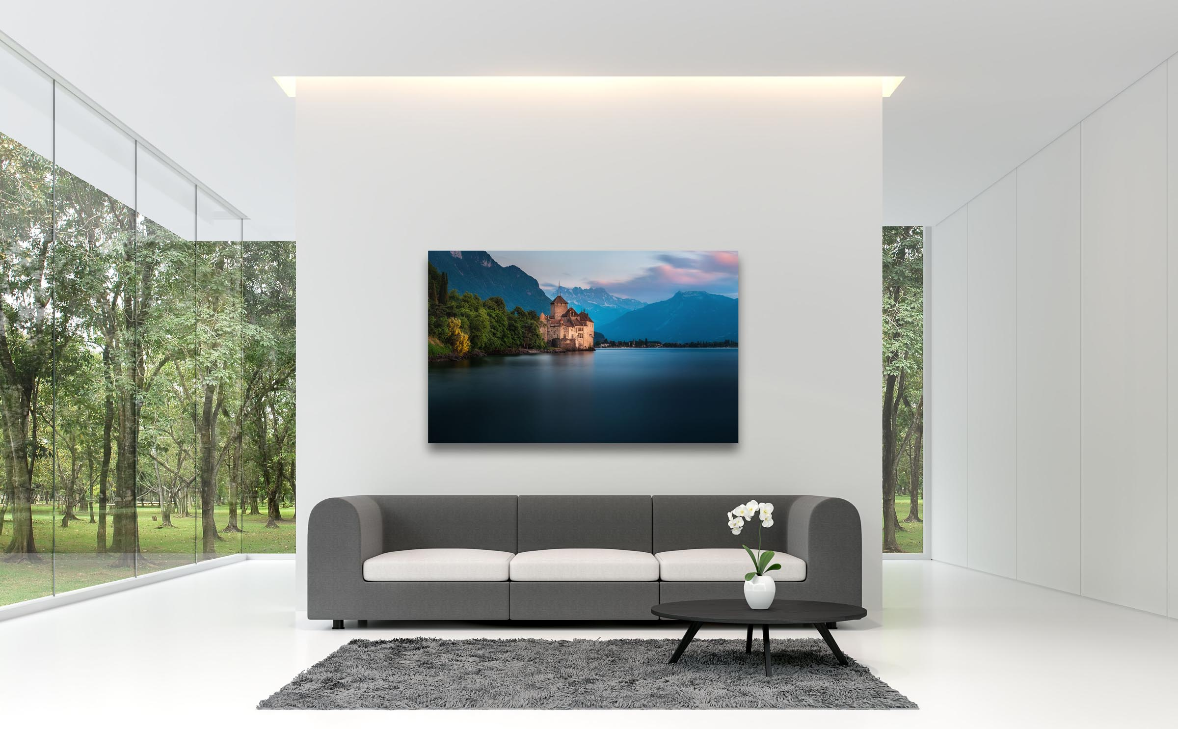 Wall art of Chillon Castle in Lake Geneva, Switzerland by Brent Goldman Photography