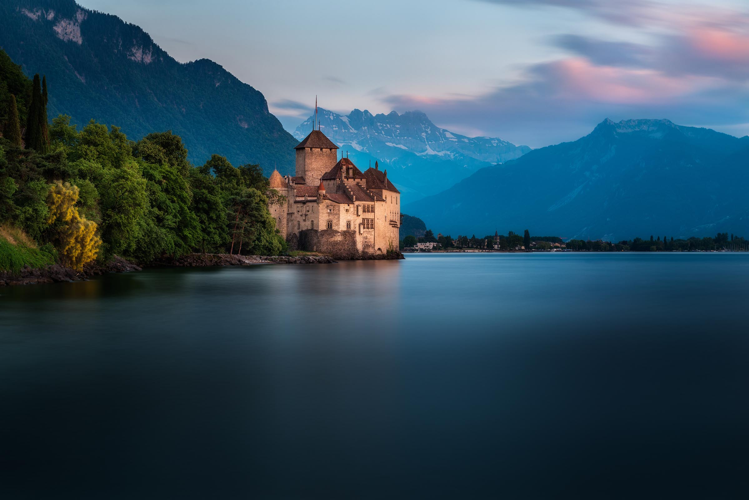 Photograph of Chillon Castle in Lake Geneva, Switzerland by Brent Goldman Photography