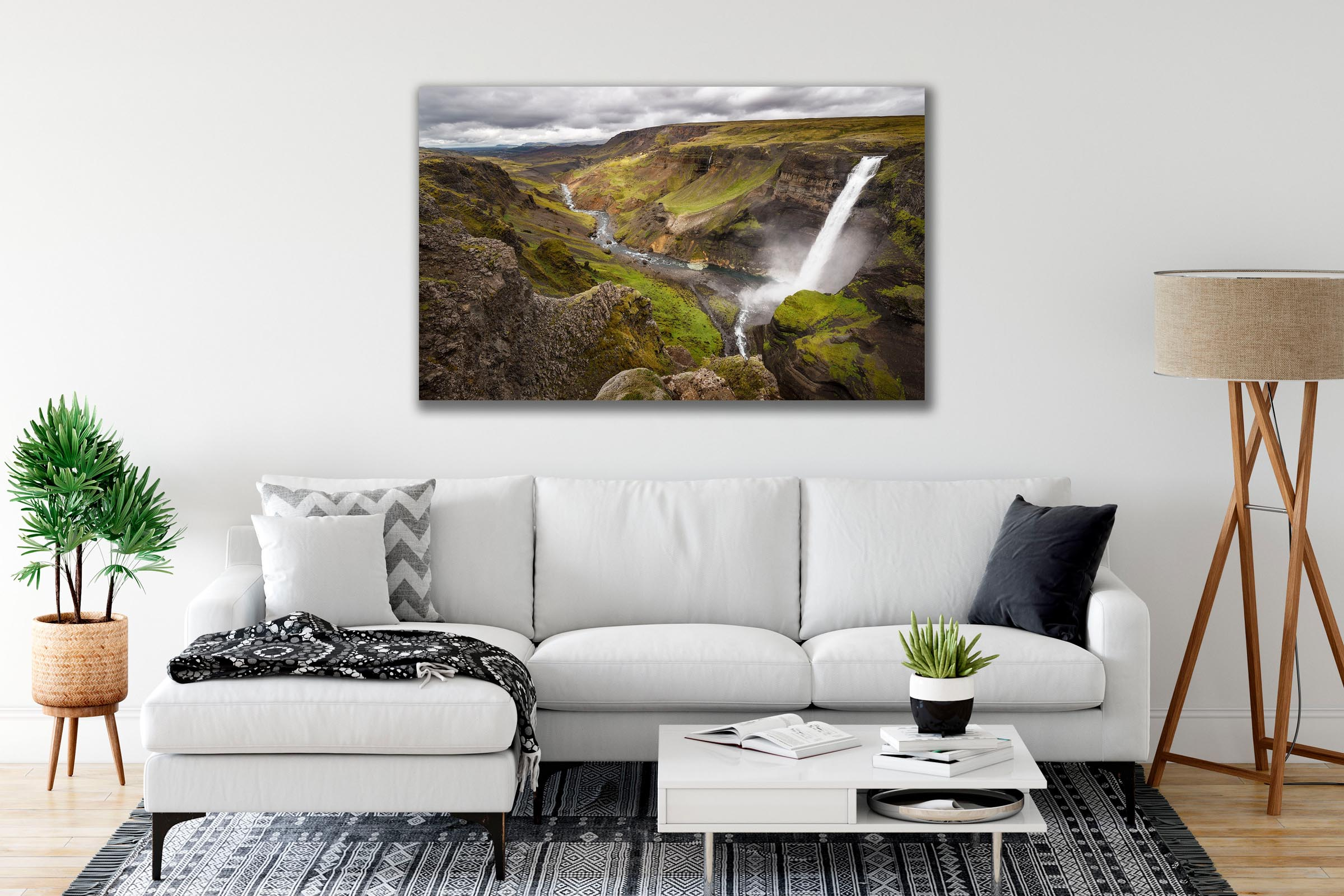 Wall art of Haifoss Waterfall in Highlands, Iceland by Brent Goldman Photography