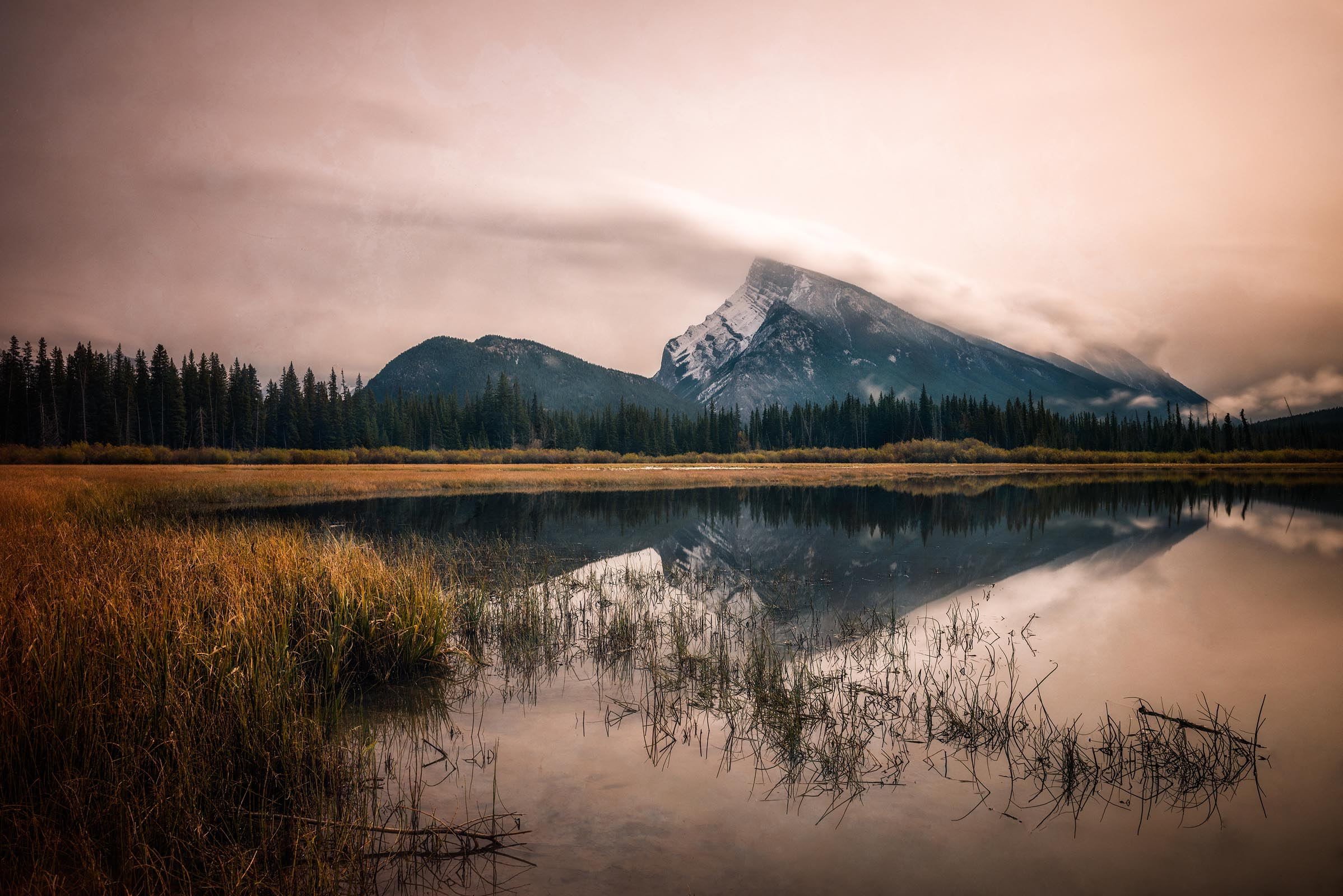 Photograph of Vermilion Lakes in Banff, Canada by Brent Goldman Photography