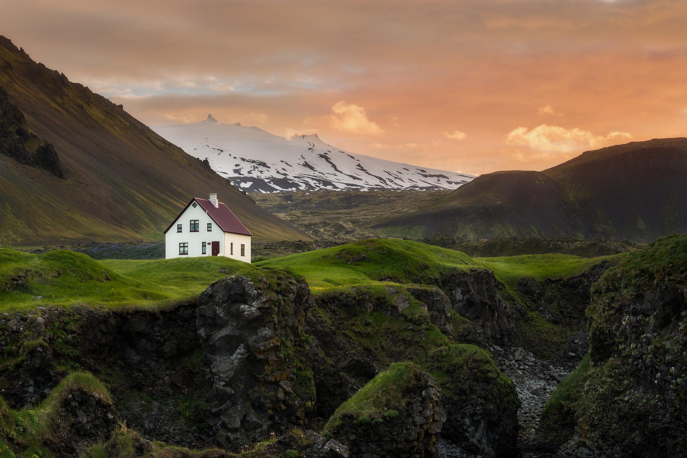 Photograph of Lone House in Arnarstapi, Iceland by Brent Goldman Photography