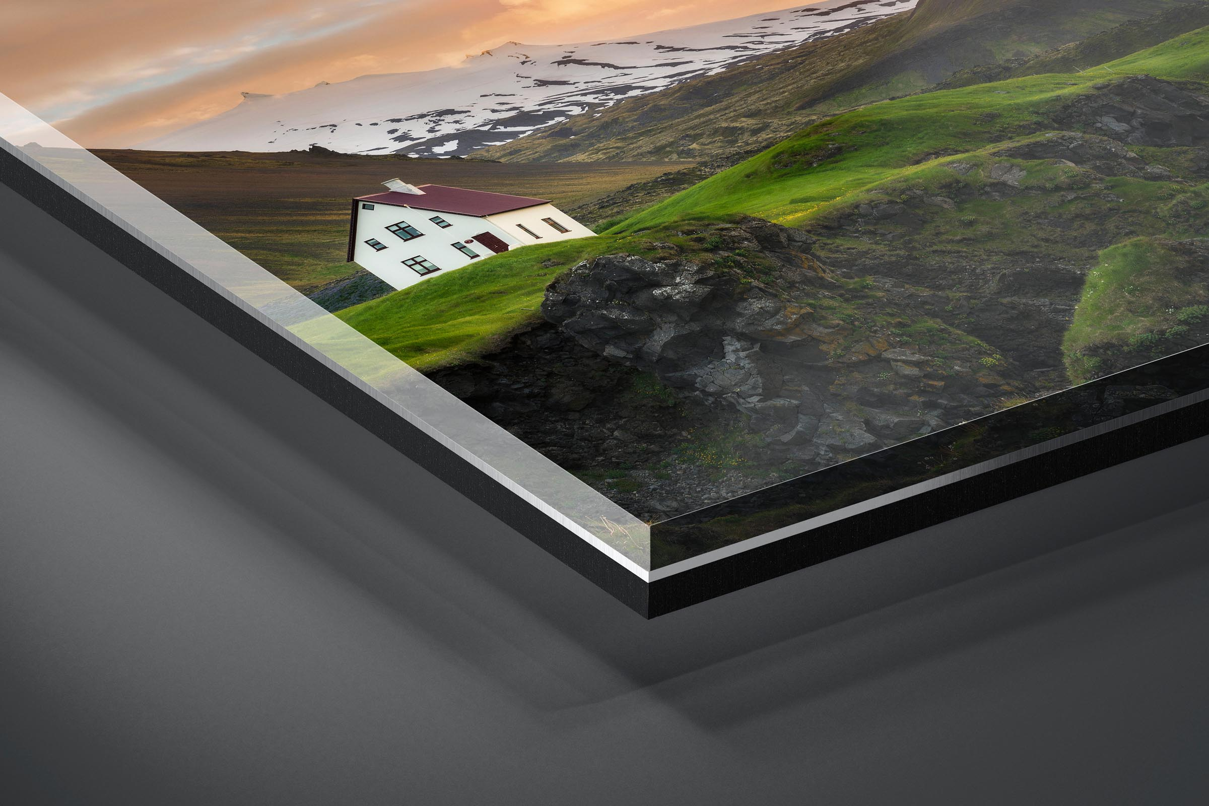 Fine art limited edition acrylic print of Lone House in Arnarstapi, Iceland by Brent Goldman Photography