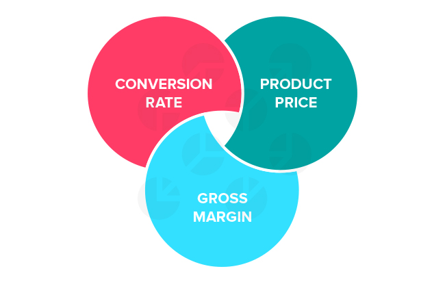 Factors affecting Google Shopping bid strategy: conversion rate, product price, gross margin.