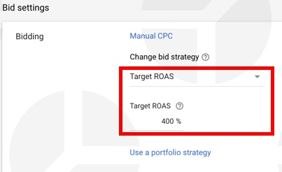 Google Shopping bid strategy: e xample of target ROAS bidding strategy.