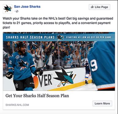 The San Jose Sharks Facebook Ad