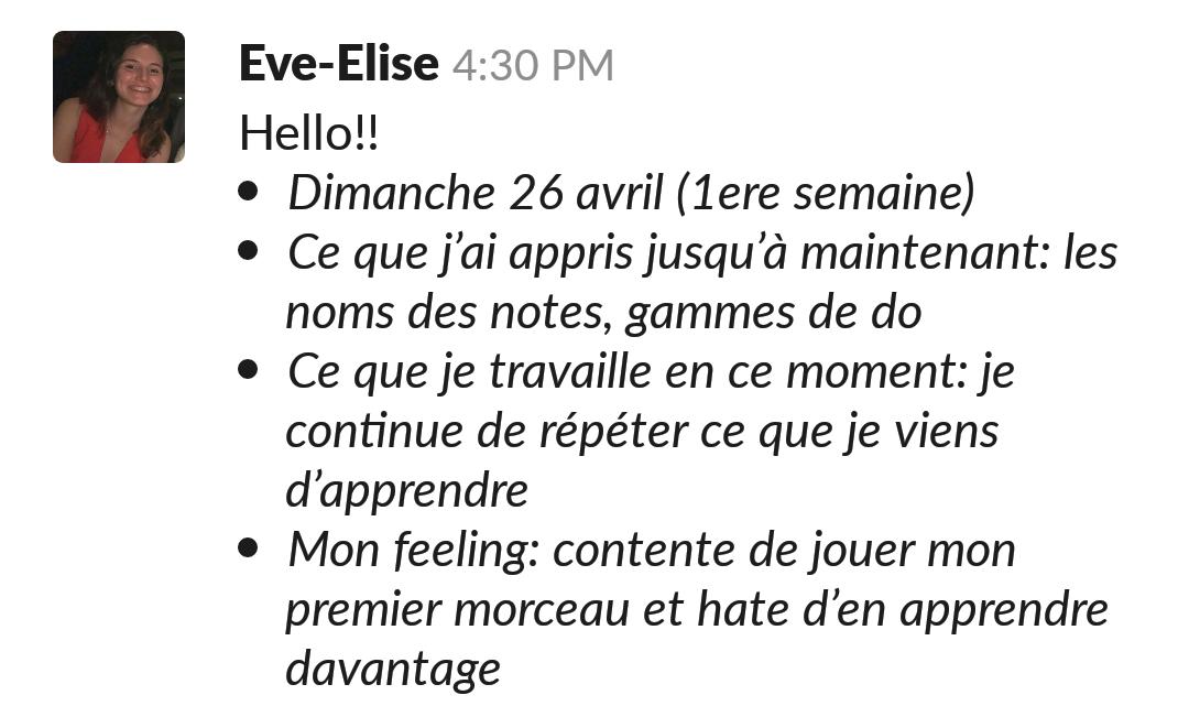 progrès rapides de Eve Lise au piano avec Virtuoso