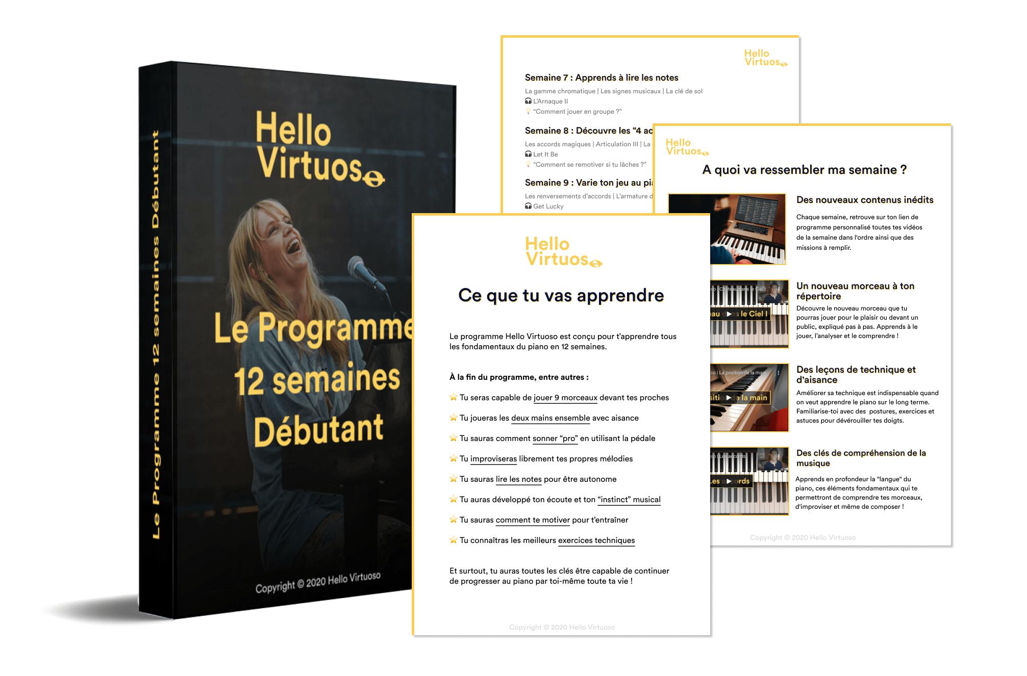 aperçu du programme 12 semaines Hello virtuoso