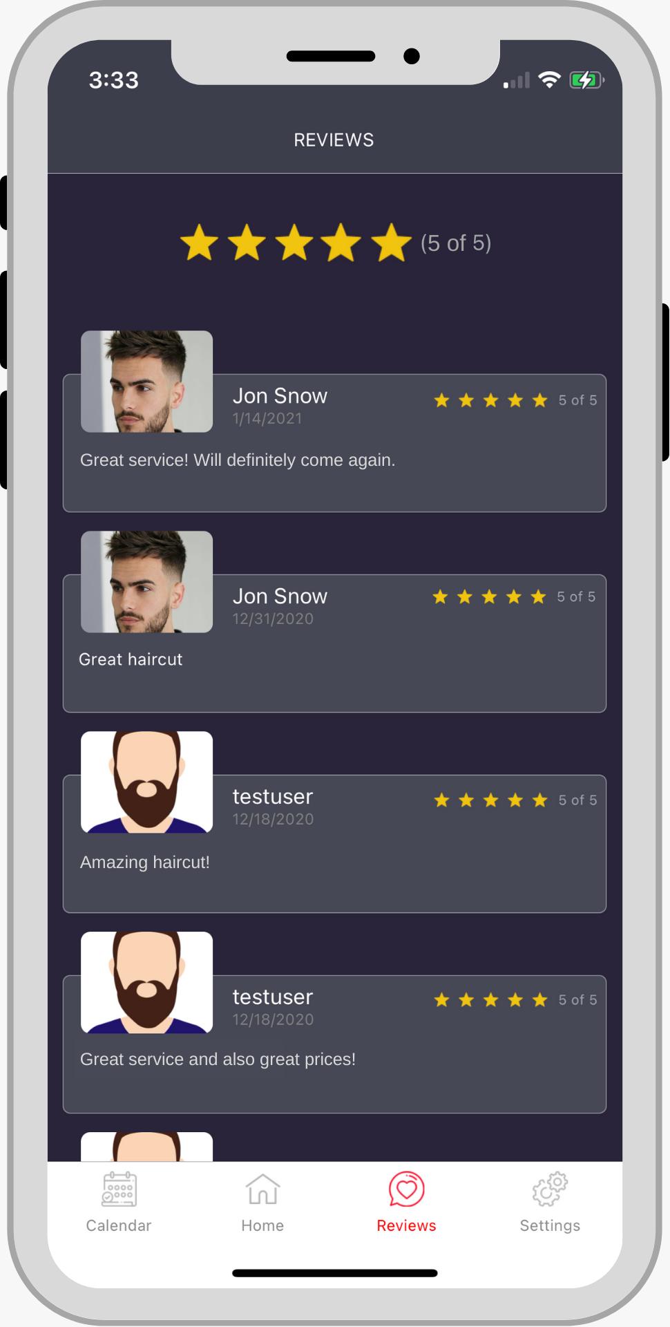 CLYPR barber barbershop app Barber review screen