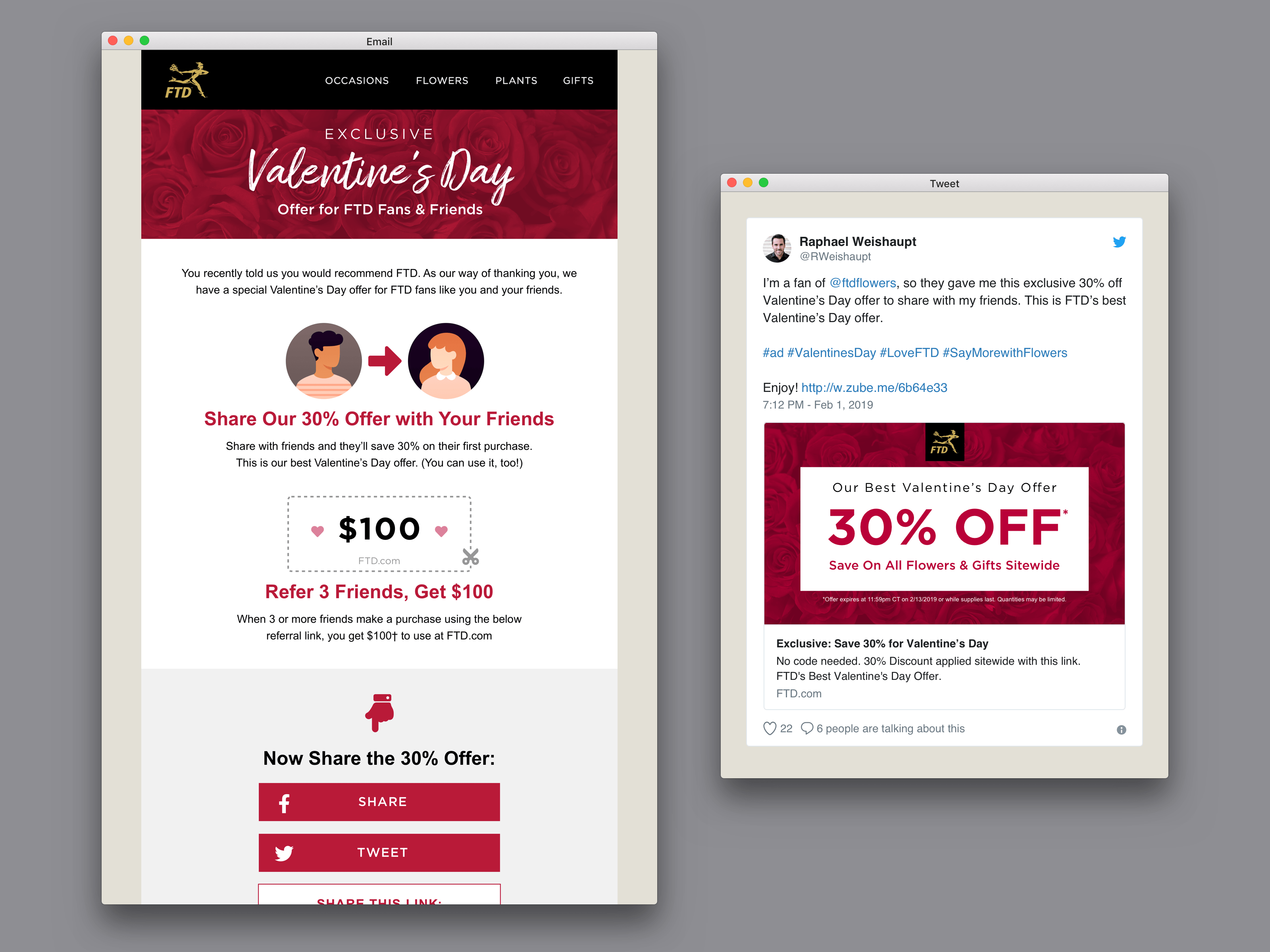 Early 2019 FTD Valentine's Day Referrals