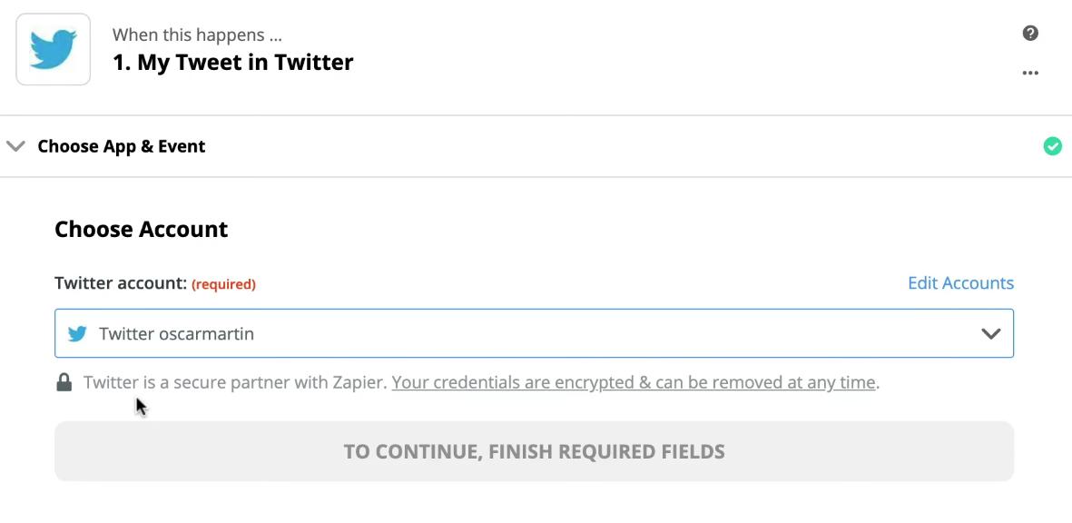 Cuenta Twitter Zapier