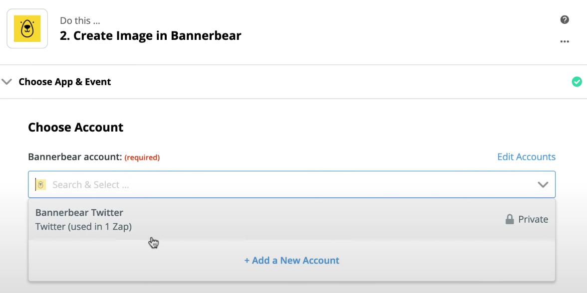 Cuenta Twitter Bannerbear usada en Zapier