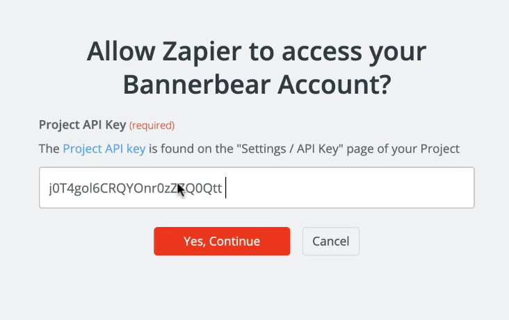API Key de Bannerbear en Zapier