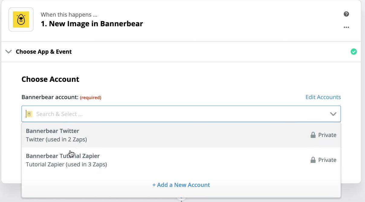 Seleccionamos cuenta Bannerbear