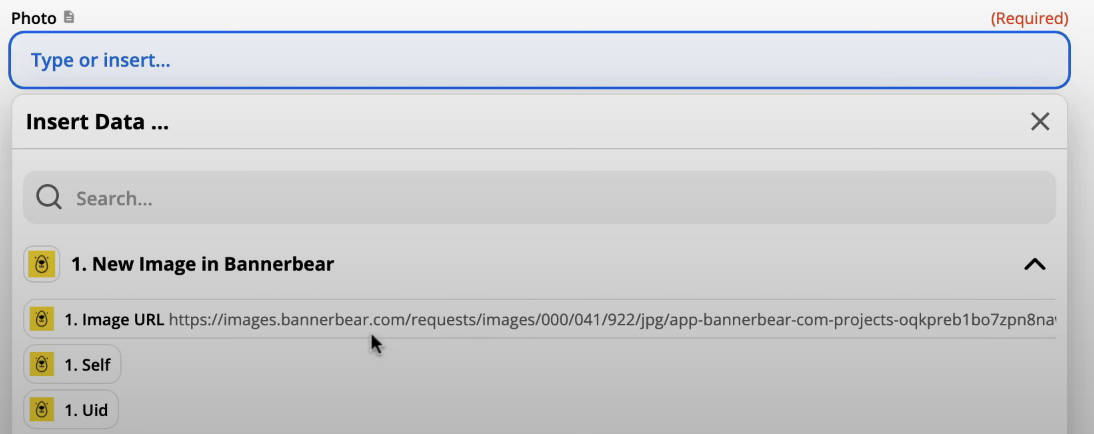 Zapier elección URL Imagen de Bannerbear