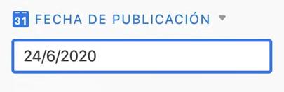 Airtable Fecha de publicación
