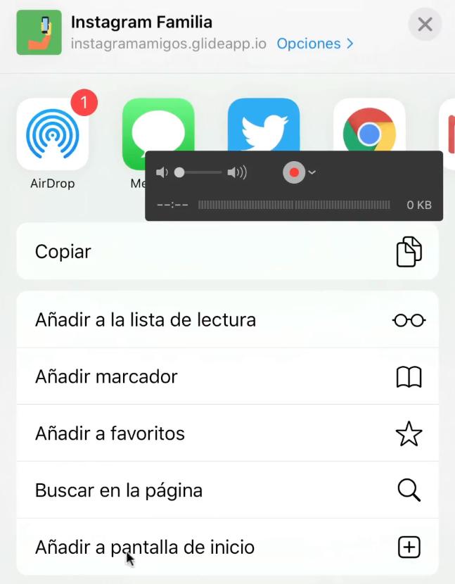 Glide Añadir pantalla de inicio