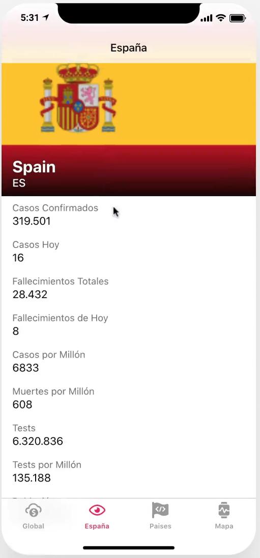 App Coronavirus datos España