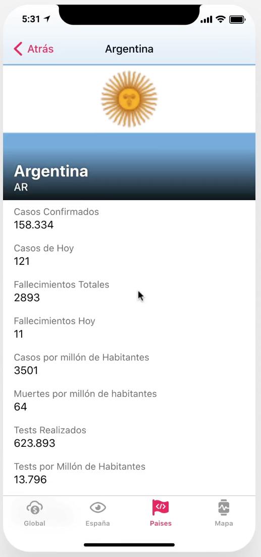 App Datos Coronavirus Argentina