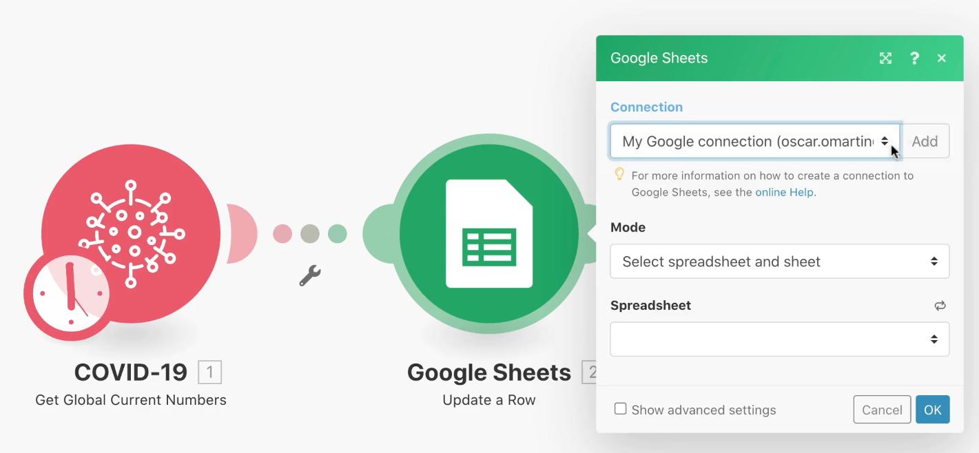 Integromat Conexión Google Sheets