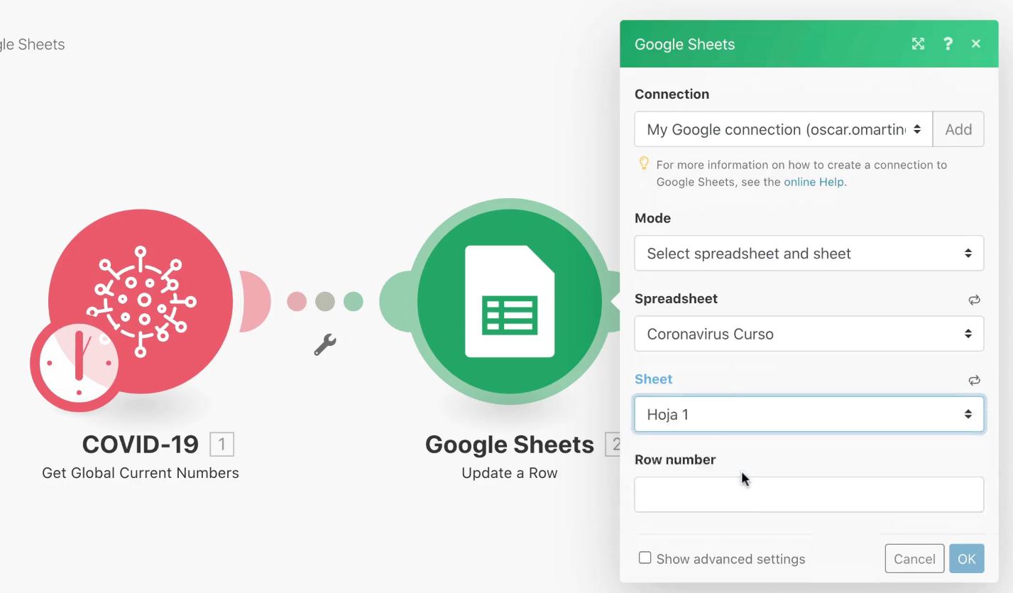 Configuracion Google Sheets Integromat