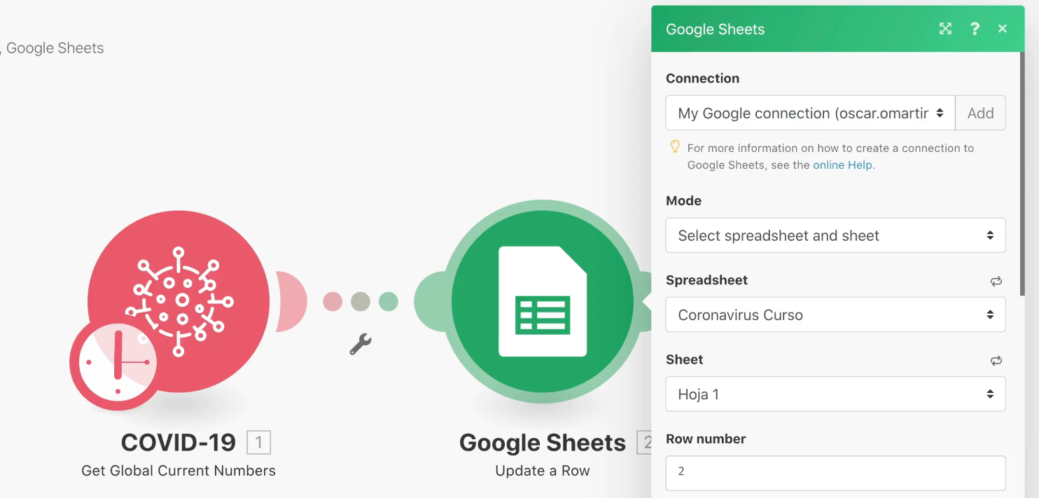 Integromat Google Sheets fila 2