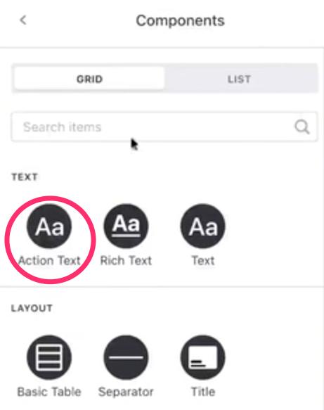 Añadir Action Text