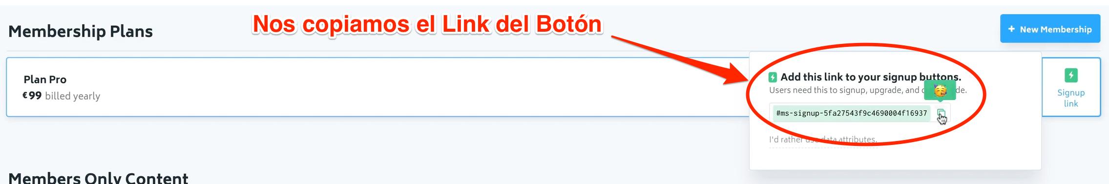 Link Botón Memberstack