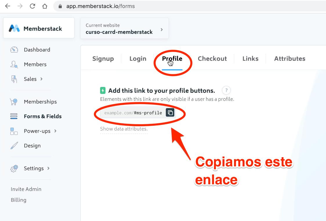 Memberstack codigo profile