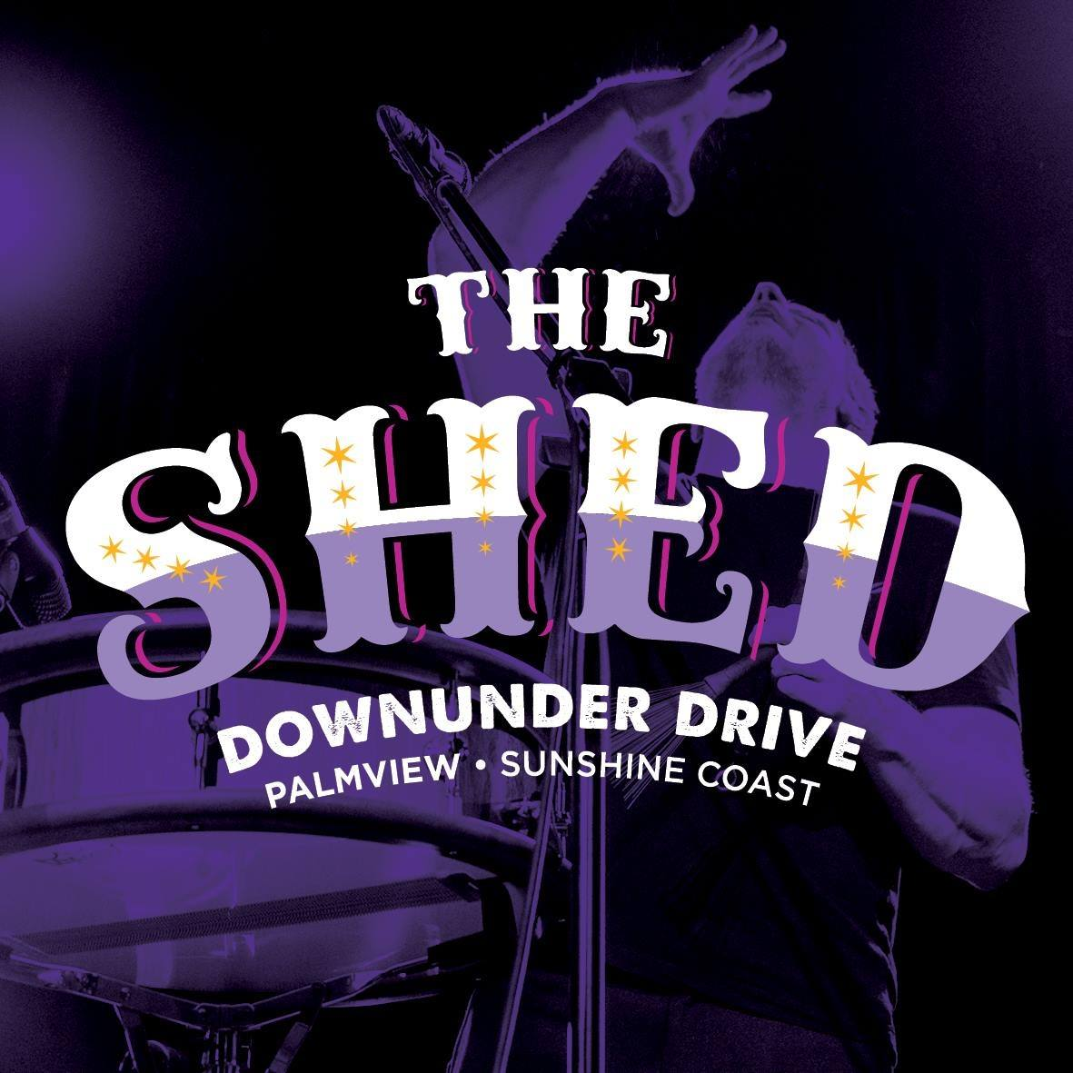 The Shed Aussie World Sunshine Coast Logo | Mudcrab Music & Events