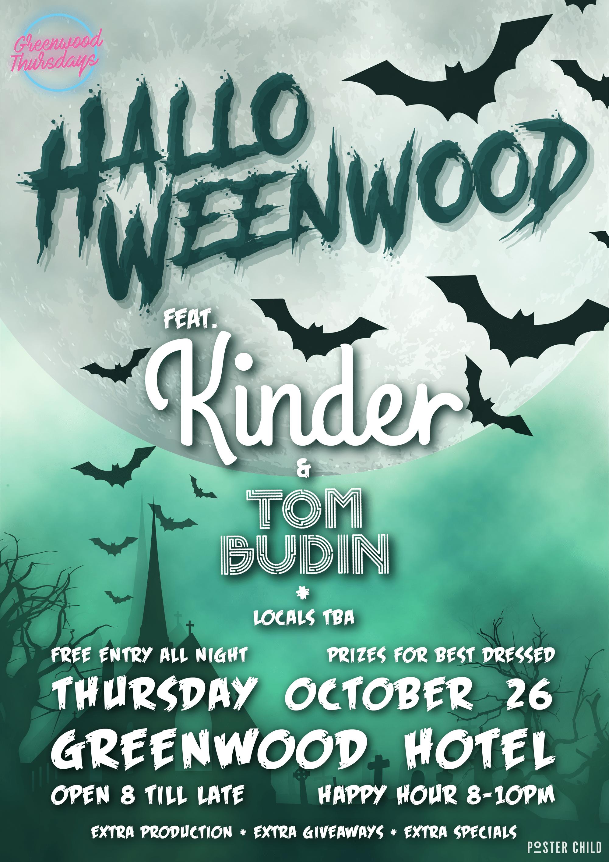 Halloween ft Kinder Tom Budin Greenwood Thursdays North Sydney