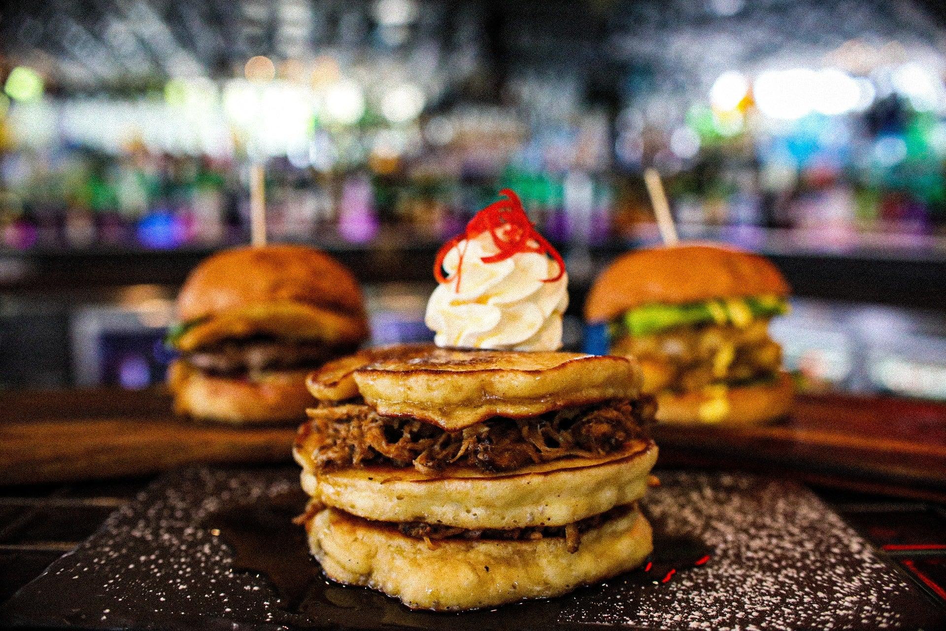Burgers and Pulled Pork Pancakes Goodbar Mooloolaba