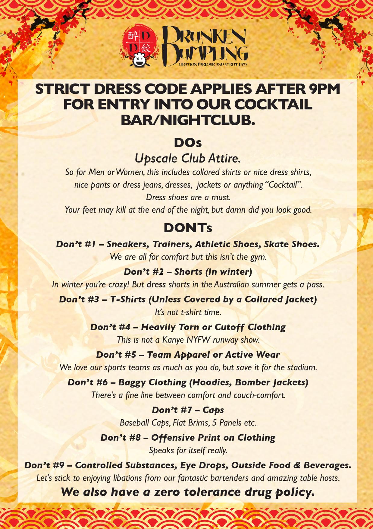 DrunkenDumpling Dress Code