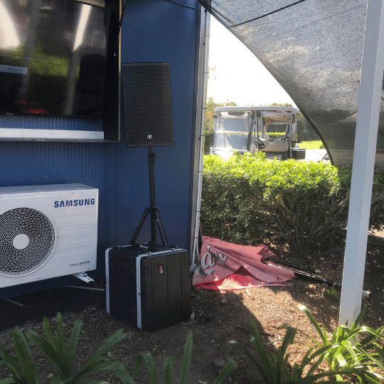 Pelican Waters Golf Course Beer Garden Speakers | AV Hire