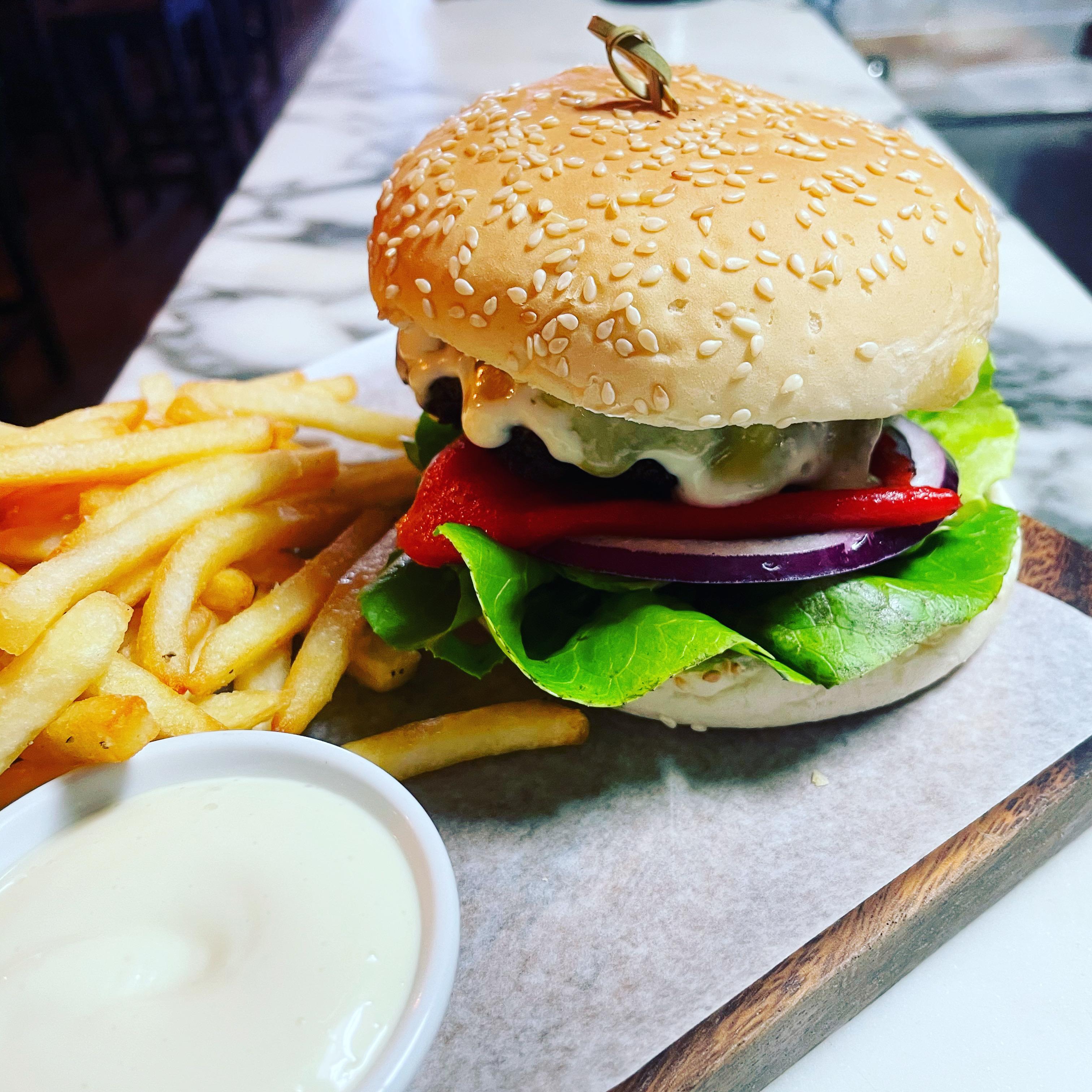 Beef Burger & fries