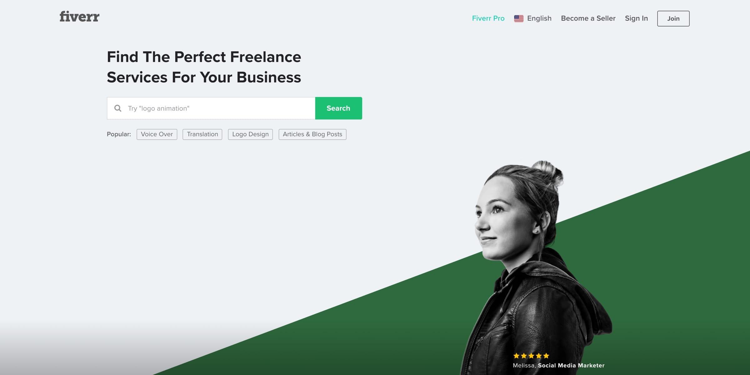 Fiverr utilizing green color psychology in their design