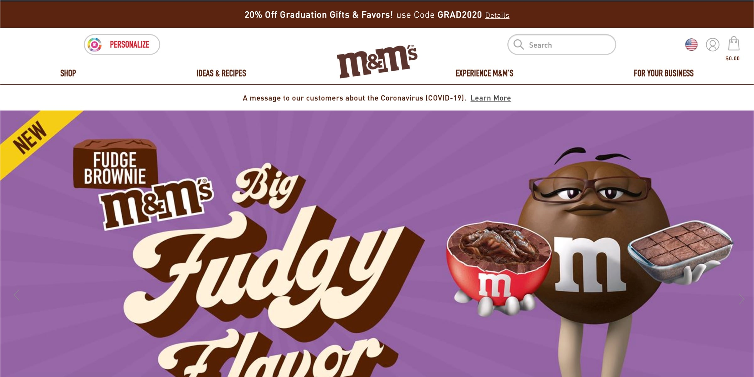 M&M's utilizing brown color psychology in their design