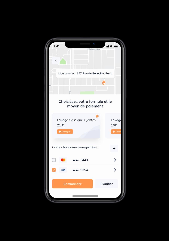 Écran du projet iZclean montrant l'interface de l'application pour réserver un wash