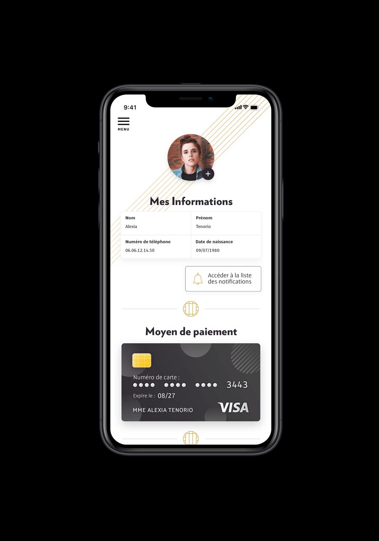 Écran du projet Molitor montrant l'interface de l'application pour gérer son profil