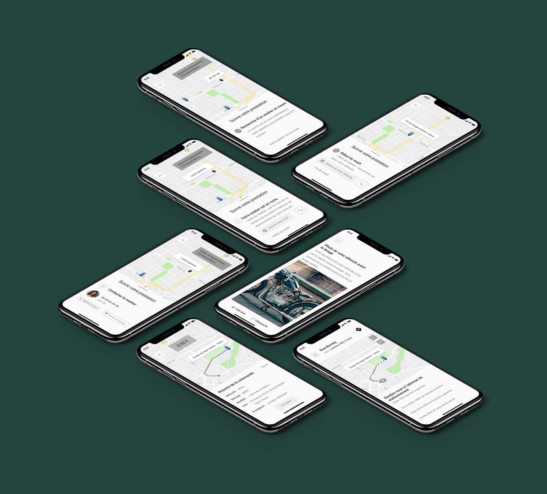 Plusieurs écrans mettant en avant quelques wireframes conçus durant la conception de l'application