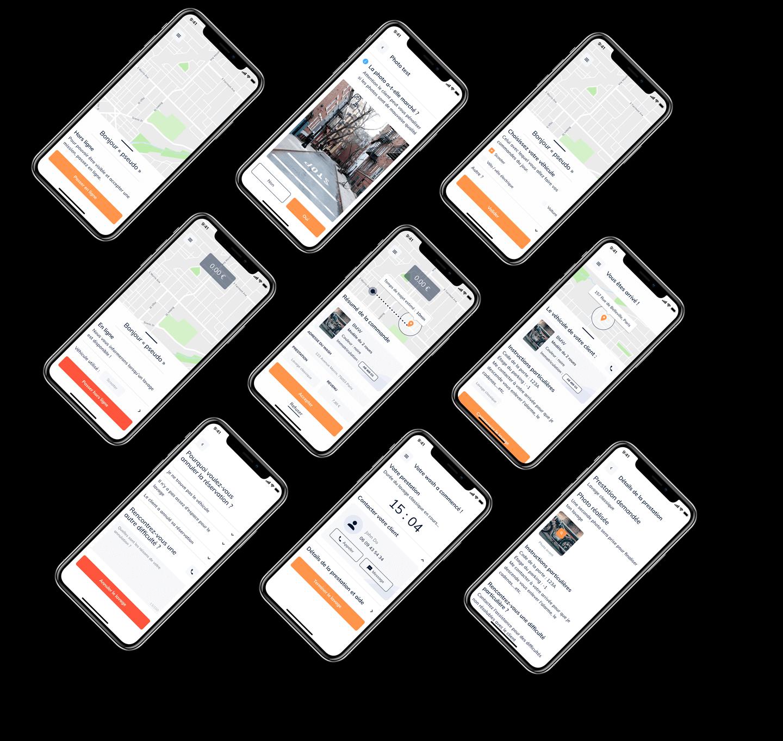 Sélection d'interfaces finales de l'application dédiées aux washers d'iZclean