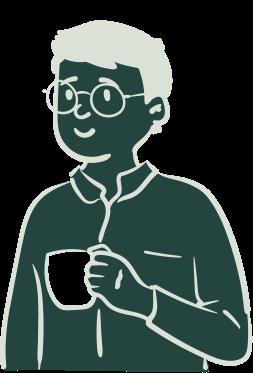 Persona illustré avec un café