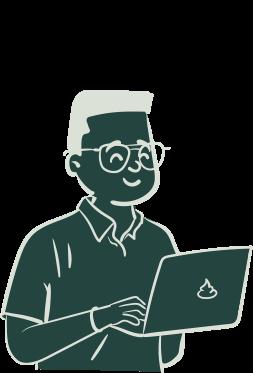 Persona illustré avec un ordinateur