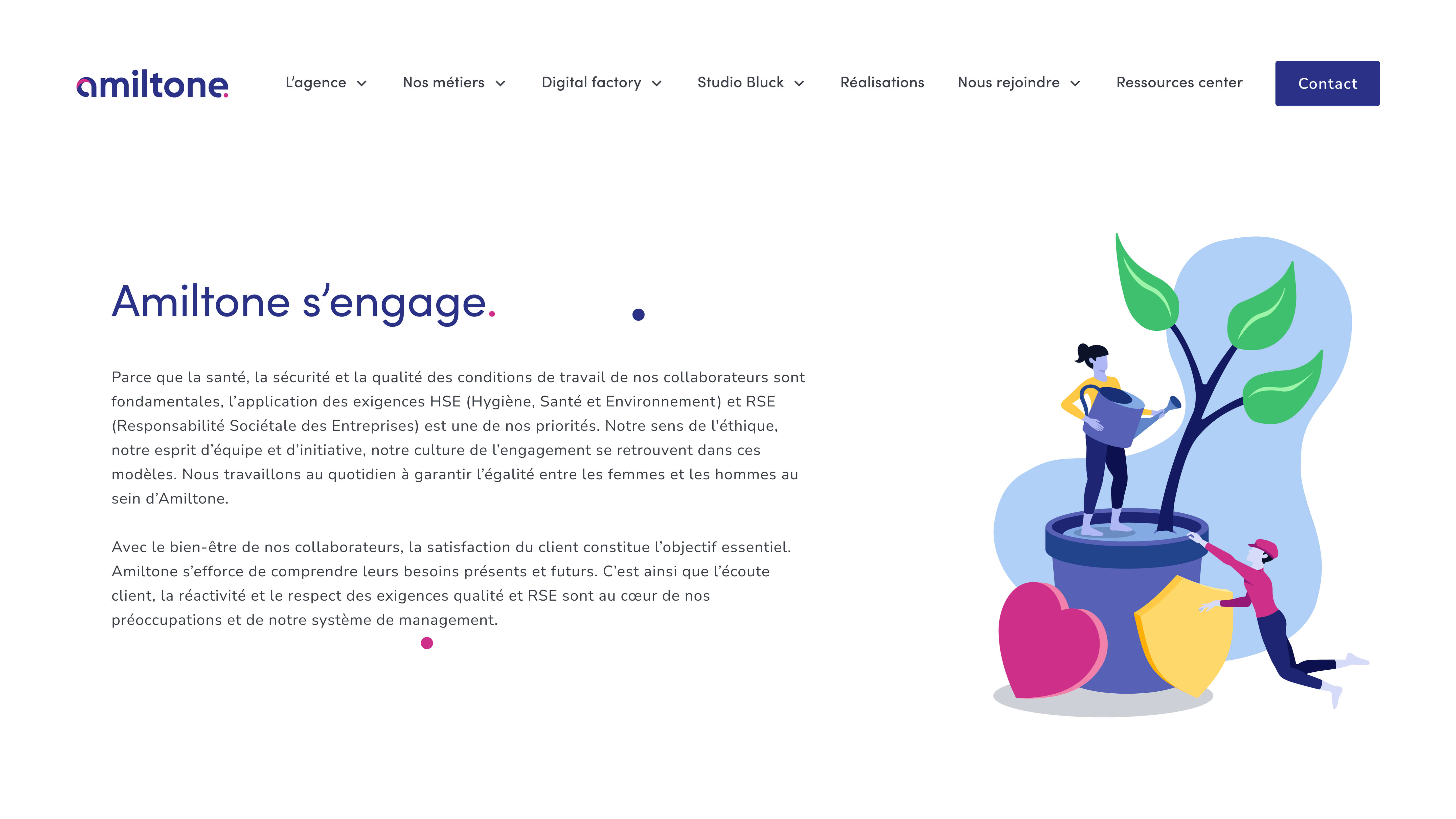 Web interface that illustrates the page dedicated to the commitments of the Amiltone agency